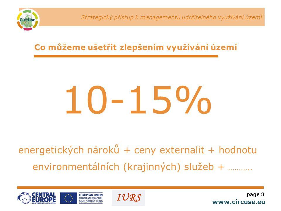 Strategický přístup k managementu udržitelného využívání území www.circuse.eu © Susanne Stromberg IURS Co můžeme ušetřit zlepšením využívání území 10-15% energetických nároků + ceny externalit + hodnotu environmentálních (krajinných) služeb + ………..