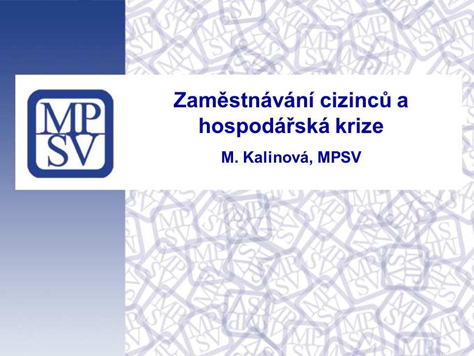 1 Zaměstnávání cizinců a hospodářská krize M. Kalinová, MPSV