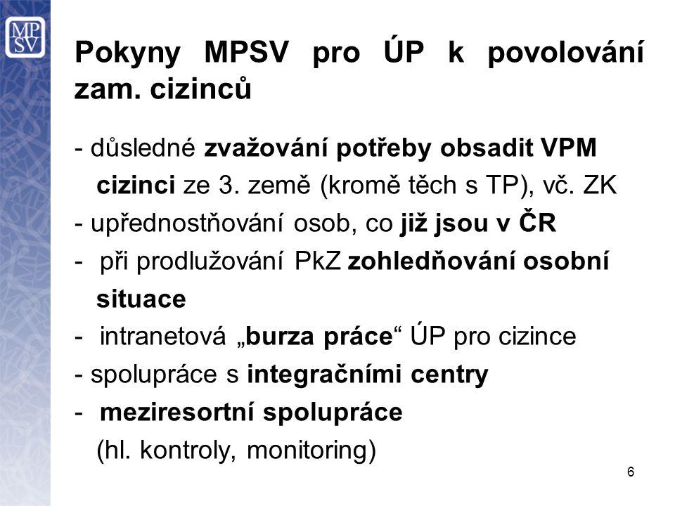 6 Pokyny MPSV pro ÚP k povolování zam.