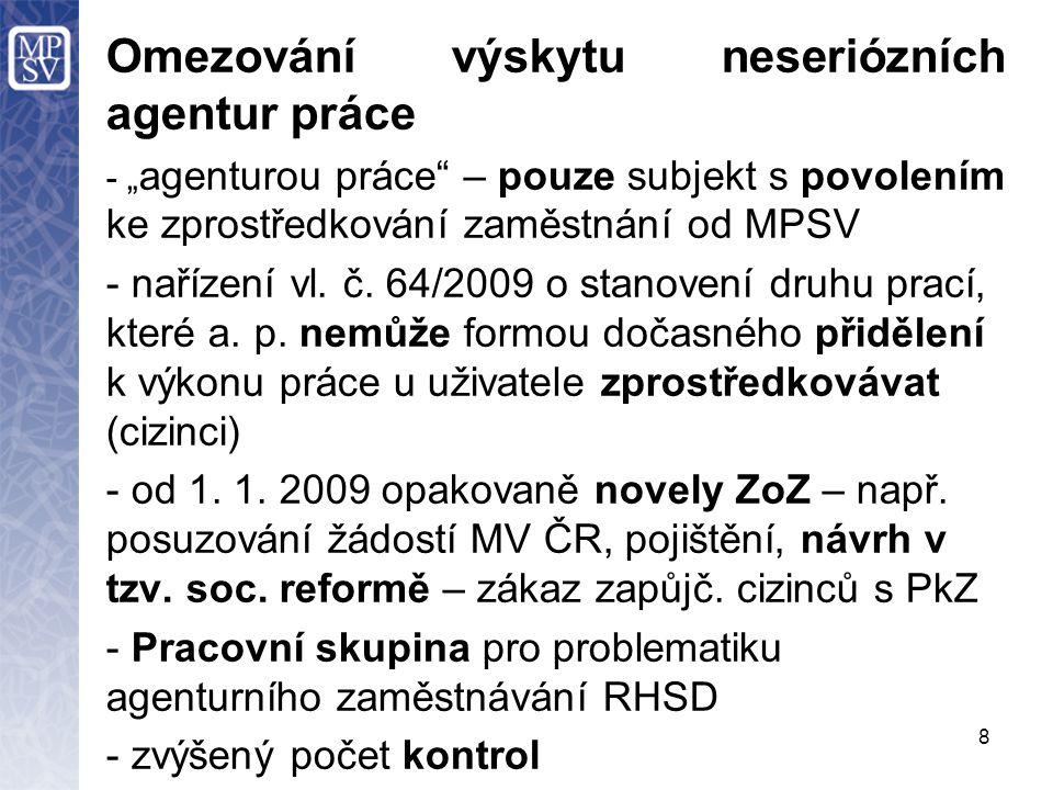 """8 Omezování výskytu neseriózních agentur práce - """" agenturou práce – pouze subjekt s povolením ke zprostředkování zaměstnání od MPSV - nařízení vl."""