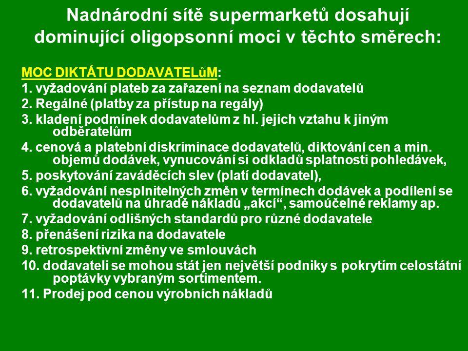Nadnárodní sítě supermarketů dosahují dominující oligopsonní moci v těchto směrech: MOC DIKTÁTU DODAVATELůM: 1.