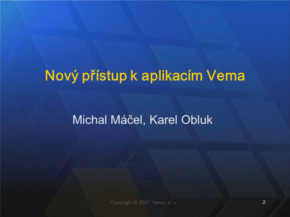 2 Michal Máčel, Karel Obluk Nový přístup k aplikacím Vema