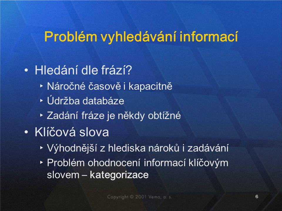 6 Problém vyhledávání informací •Hledání dle frází? ▸Náročné časově i kapacitně ▸Údržba databáze ▸Zadání fráze je někdy obtížné •Klíčová slova ▸Výhodn