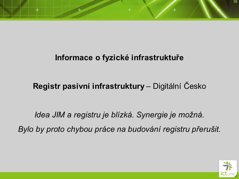Informace o fyzické infrastruktuře Registr pasivní infrastruktury – Digitální Česko Idea JIM a registru je blízká. Synergie je možná. Bylo by proto ch