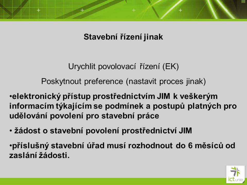 Stavební řízení jinak Urychlit povolovací řízení (EK) Poskytnout preference (nastavit proces jinak) •elektronický přístup prostřednictvím JIM k vešker