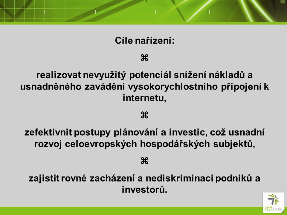 Cíle nařízení:  realizovat nevyužitý potenciál snížení nákladů a usnadněného zavádění vysokorychlostního připojení k internetu,  zefektivnit postupy