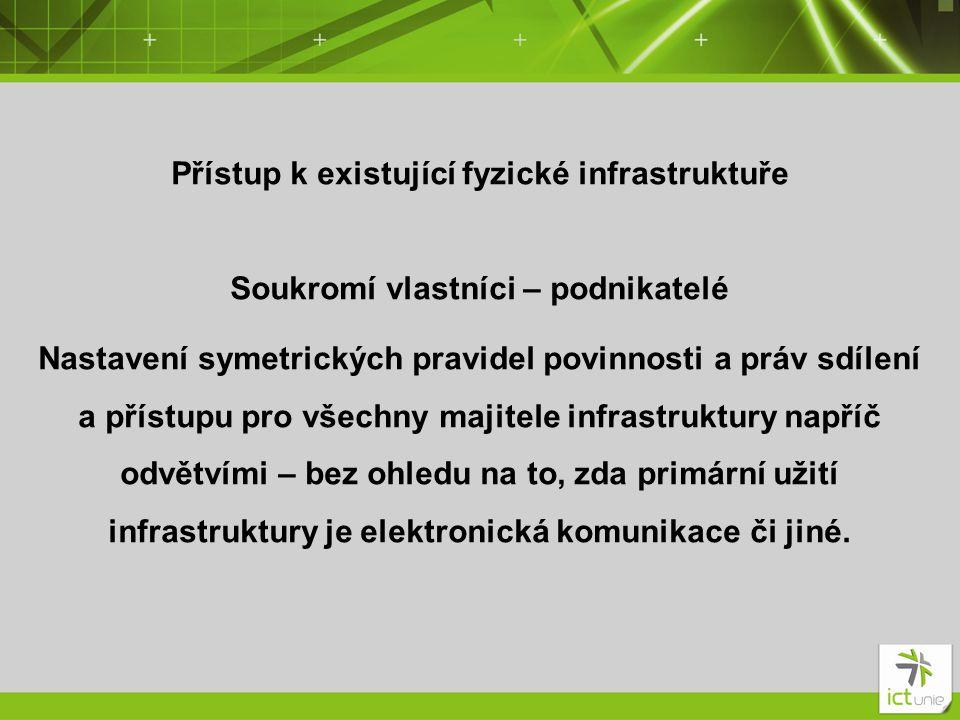 Přístup k existující fyzické infrastruktuře Soukromí vlastníci – podnikatelé Nastavení symetrických pravidel povinnosti a práv sdílení a přístupu pro