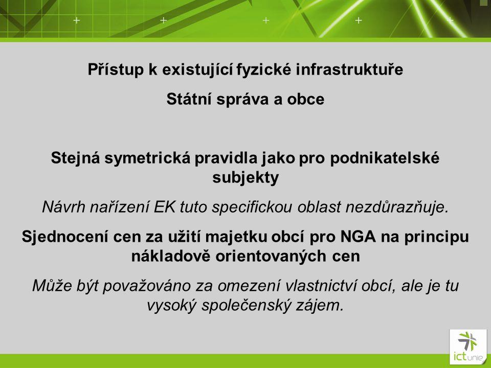 Přístup k existující fyzické infrastruktuře Státní správa a obce Stejná symetrická pravidla jako pro podnikatelské subjekty Návrh nařízení EK tuto spe