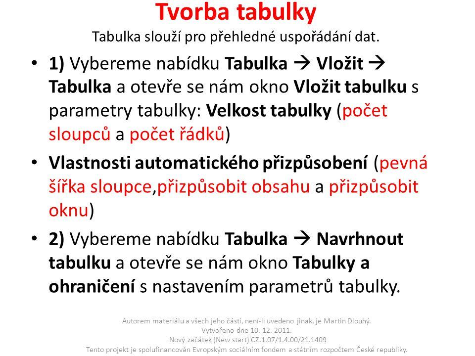 Tvorba tabulky Tabulka slouží pro přehledné uspořádání dat.