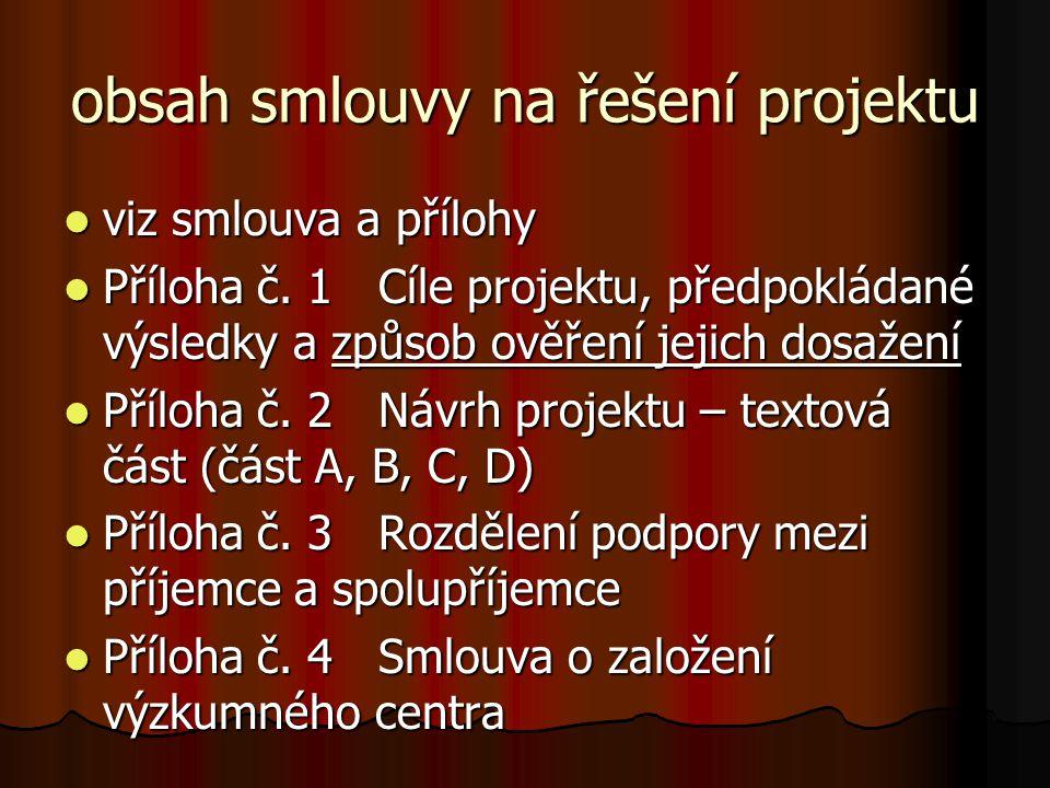 obsah smlouvy na řešení projektu  viz smlouva a přílohy  Příloha č.
