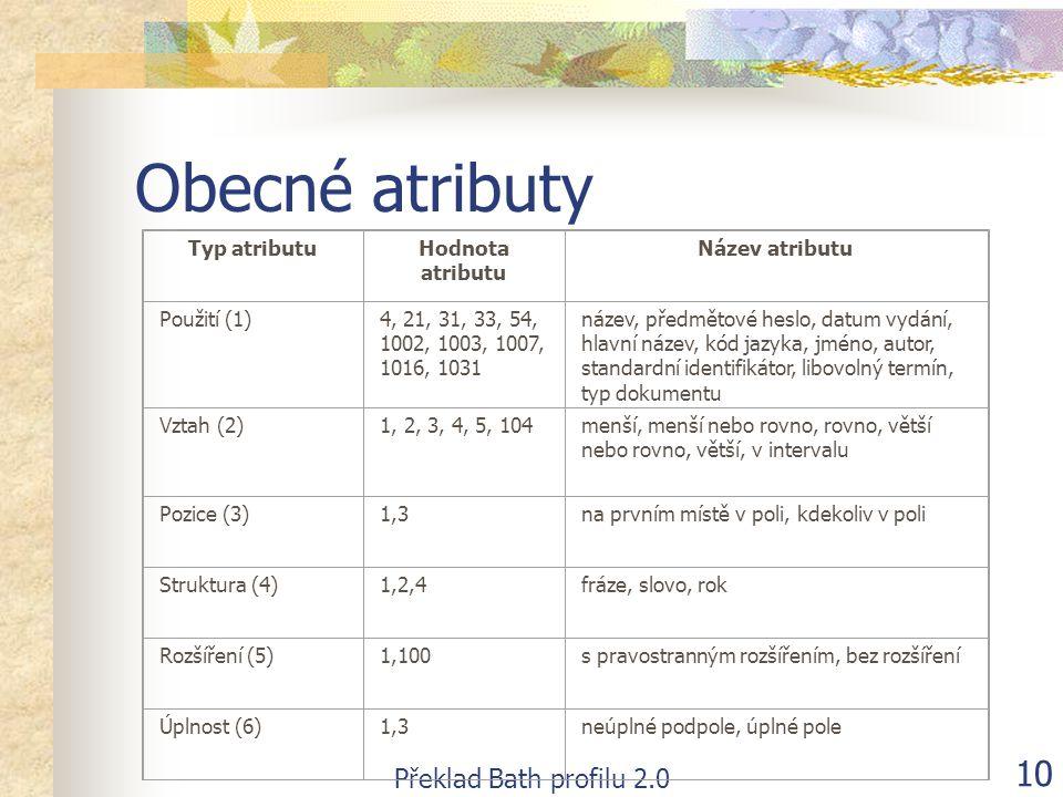Překlad Bath profilu 2.0 10 Obecné atributy Typ atributuHodnota atributu Název atributu Použití (1)4, 21, 31, 33, 54, 1002, 1003, 1007, 1016, 1031 náz