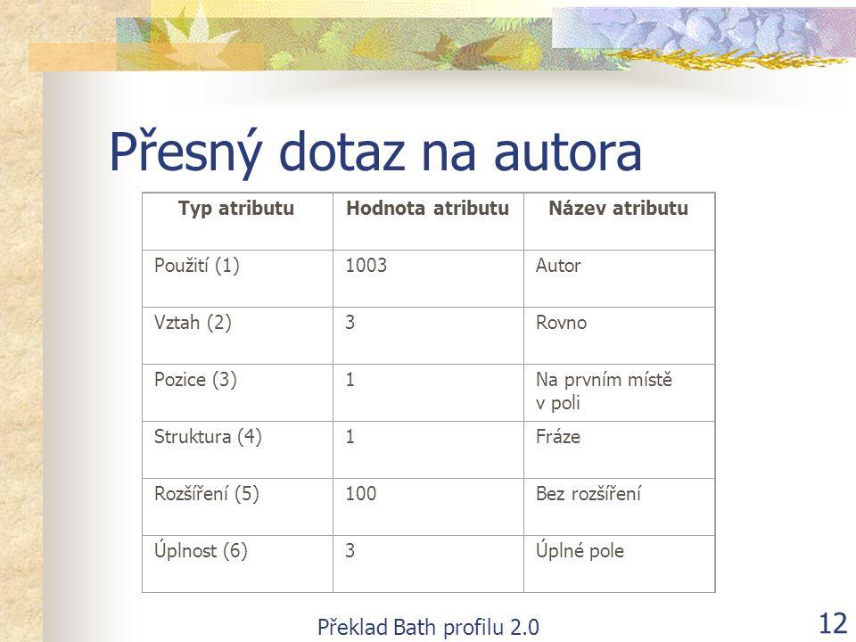 Překlad Bath profilu 2.0 12 Přesný dotaz na autora Typ atributuHodnota atributuNázev atributu Použití (1)1003Autor Vztah (2)3Rovno Pozice (3)1Na první