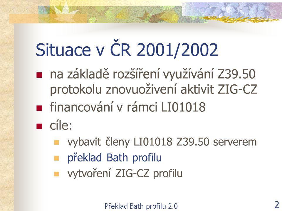 Překlad Bath profilu 2.0 2 Situace v ČR 2001/2002  na základě rozšíření využívání Z39.50 protokolu znovuoživení aktivit ZIG-CZ  financování v rámci