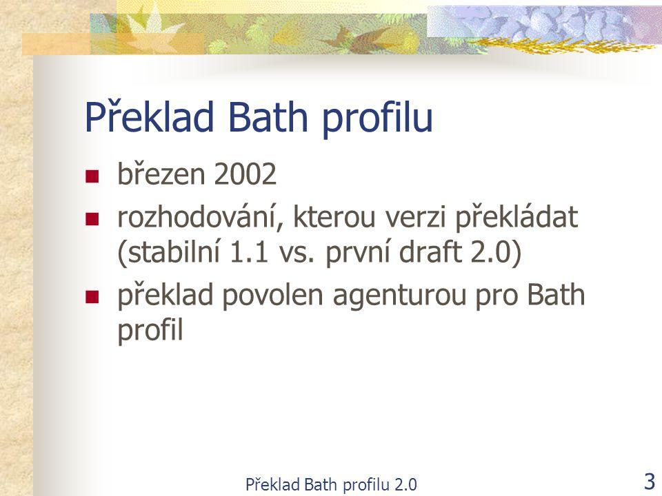 Překlad Bath profilu 2.0 14 Současný stav  po zveřejnění finální podoby verze 2.0  doplnění chybějících kapitol, které byly upřesněny na setkání Bath skupiny v dubnu 2002 (zejména funkční oblast D)  oprava a zapracování vašich připomínek (R.
