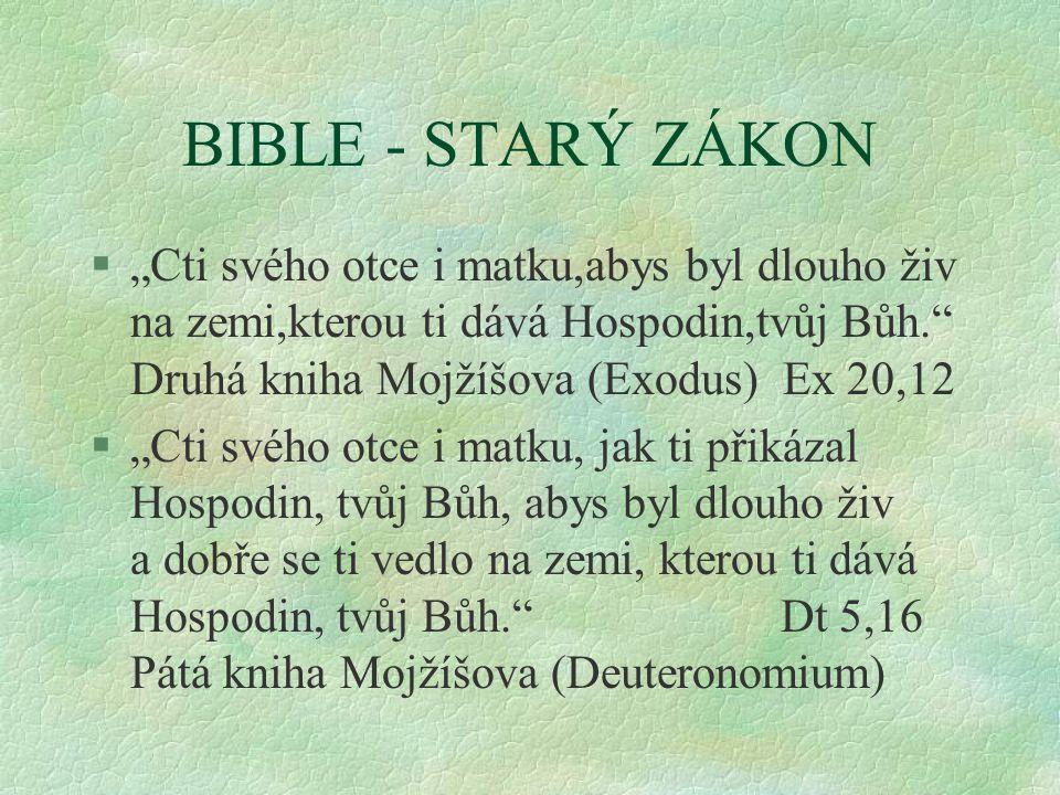 """BIBLE - STARÝ ZÁKON §""""Cti svého otce i matku,abys byl dlouho živ na zemi,kterou ti dává Hospodin,tvůj Bůh. Druhá kniha Mojžíšova (Exodus) Ex 20,12 §""""Cti svého otce i matku, jak ti přikázal Hospodin, tvůj Bůh, abys byl dlouho živ a dobře se ti vedlo na zemi, kterou ti dává Hospodin, tvůj Bůh. Dt 5,16 Pátá kniha Mojžíšova (Deuteronomium) §"""