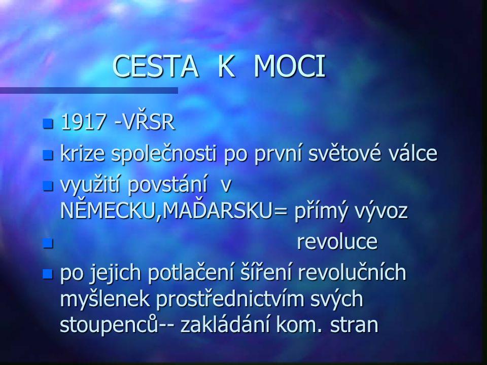 CESTA K MOCI n 1917 -VŘSR n krize společnosti po první světové válce n využití povstání v NĚMECKU,MAĎARSKU= přímý vývoz n revoluce n po jejich potlače