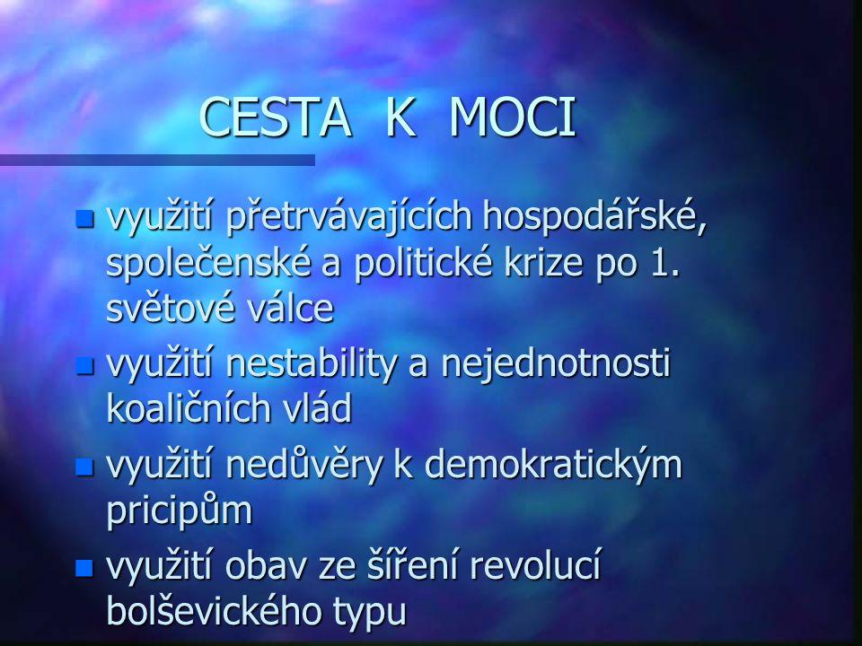 CESTA K MOCI n využití přetrvávajících hospodářské, společenské a politické krize po 1. světové válce n využití nestability a nejednotnosti koaličních