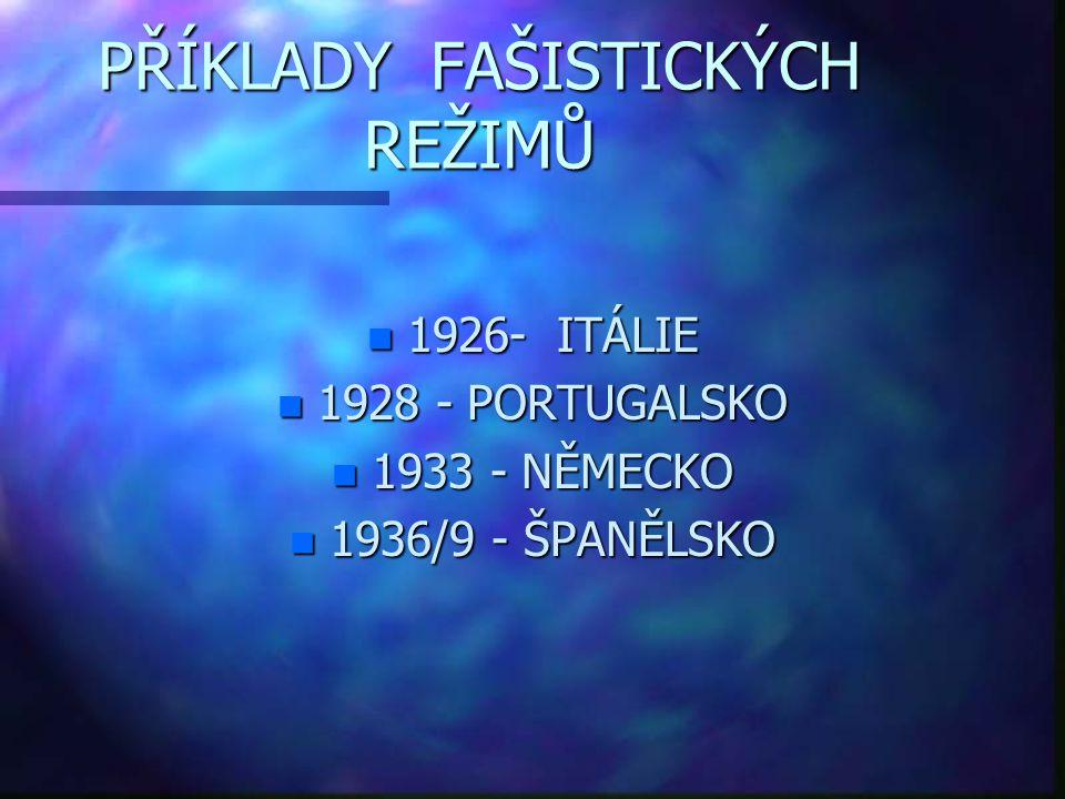 PŘÍKLADY FAŠISTICKÝCH REŽIMŮ n 1926- ITÁLIE n 1928 - PORTUGALSKO n 1933 - NĚMECKO n 1936/9 - ŠPANĚLSKO