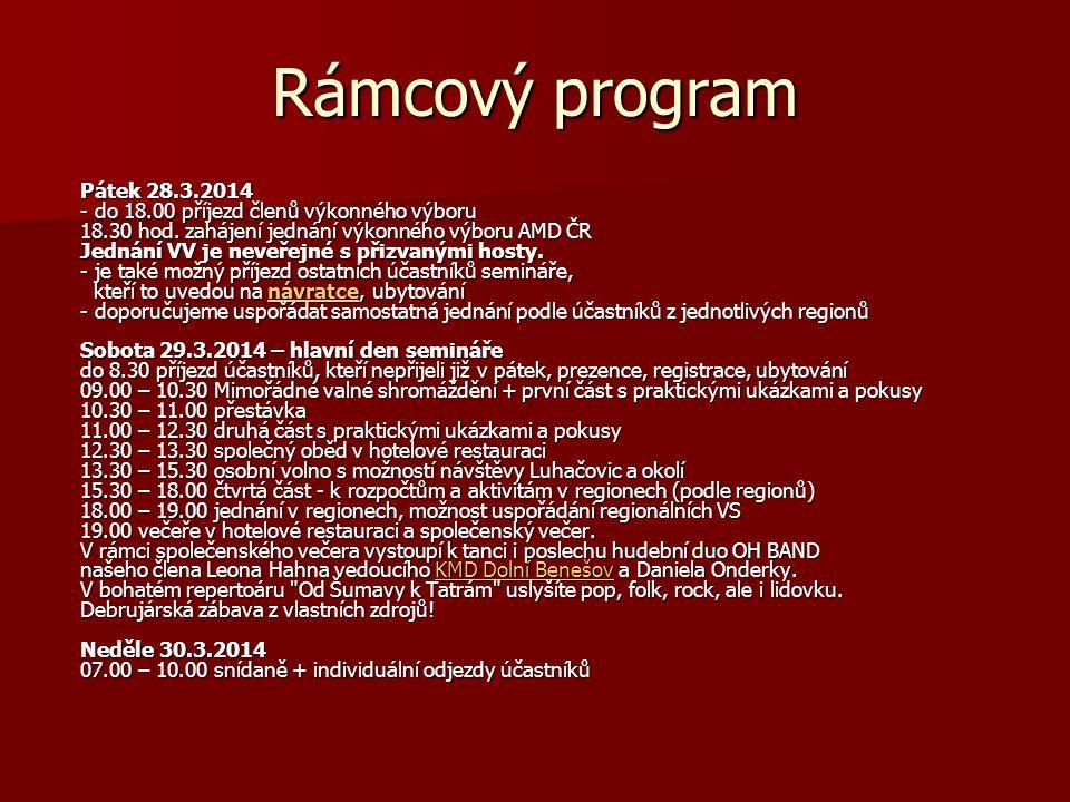 Rámcový program Pátek 28.3.2014 - do 18.00 příjezd členů výkonného výboru 18.30 hod. zahájení jednání výkonného výboru AMD ČR Jednání VV je neveřejné