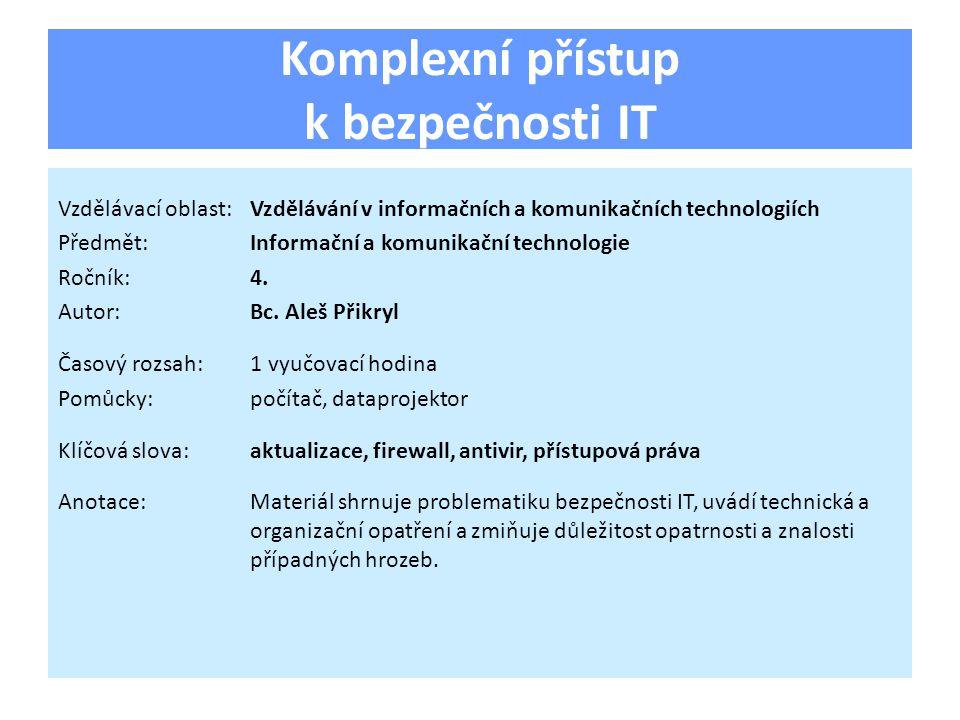 Komplexní přístup k bezpečnosti IT Vzdělávací oblast:Vzdělávání v informačních a komunikačních technologiích Předmět:Informační a komunikační technologie Ročník:4.