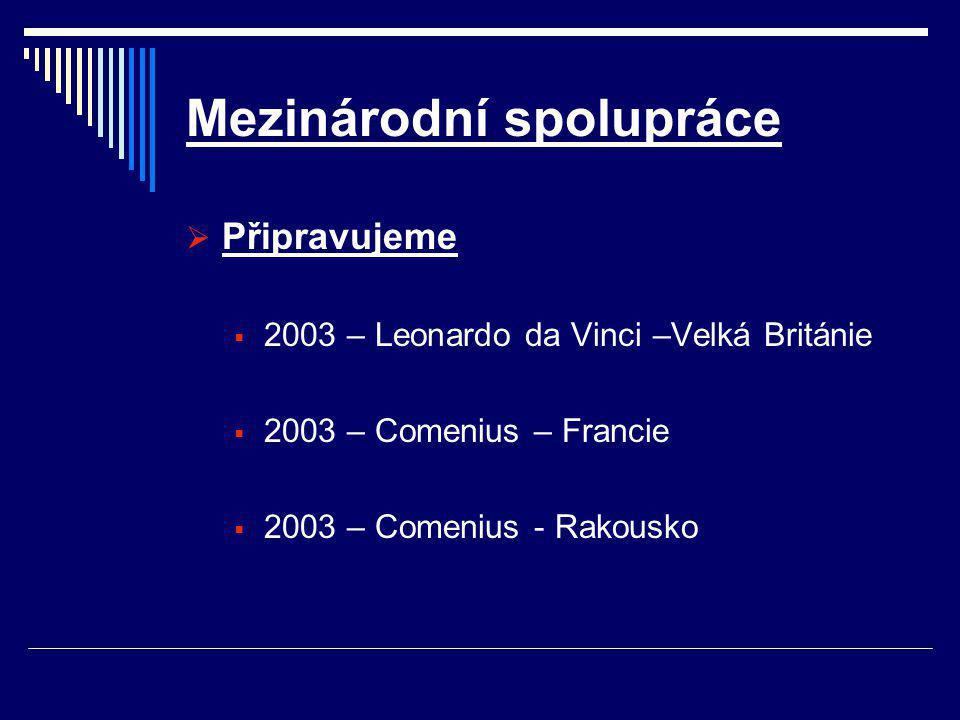 Mezinárodní spolupráce  Připravujeme  2003 – Leonardo da Vinci –Velká Británie  2003 – Comenius – Francie  2003 – Comenius - Rakousko