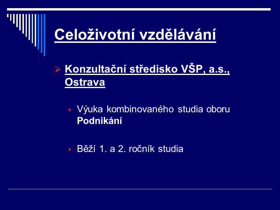 Celoživotní vzdělávání  Konzultační středisko VŠP, a.s., Ostrava  Výuka kombinovaného studia oboru Podnikání  Běží 1.