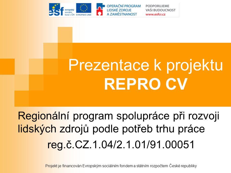Prezentace k projektu REPRO CV Regionální program spolupráce při rozvoji lidských zdrojů podle potřeb trhu práce reg.č.CZ.1.04/2.1.01/91.00051 Projekt