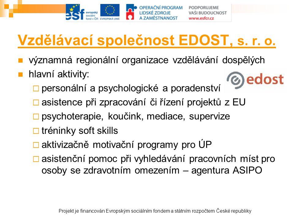 Vzdělávací společnost EDOST, s. r. o.  významná regionální organizace vzdělávání dospělých  hlavní aktivity:  personální a psychologické a poradens