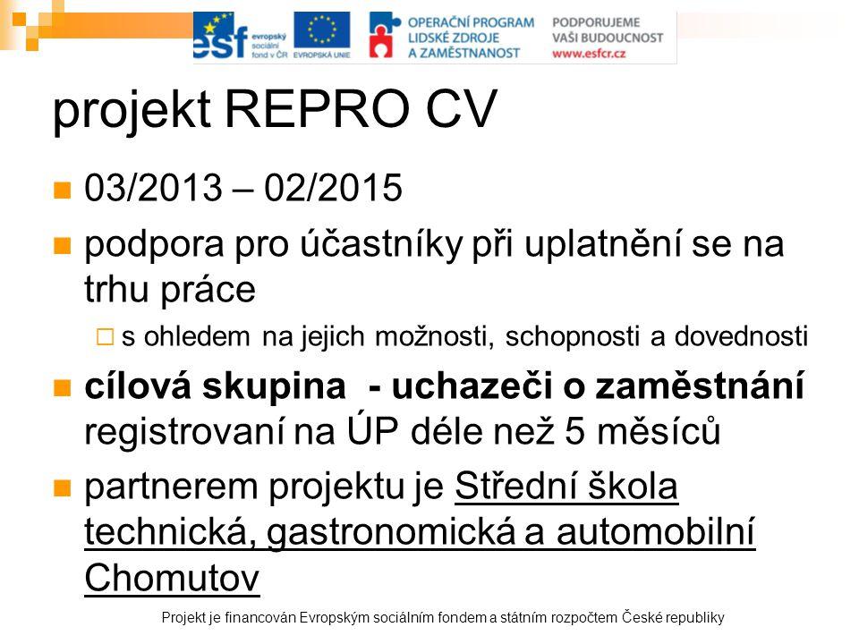 projekt REPRO CV  03/2013 – 02/2015  podpora pro účastníky při uplatnění se na trhu práce  s ohledem na jejich možnosti, schopnosti a dovednosti 