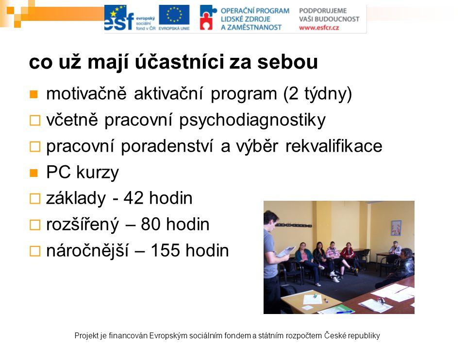 co už mají účastníci za sebou  motivačně aktivační program (2 týdny)  včetně pracovní psychodiagnostiky  pracovní poradenství a výběr rekvalifikace