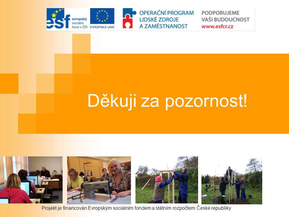 Děkuji za pozornost! Projekt je financován Evropským sociálním fondem a státním rozpočtem České republiky