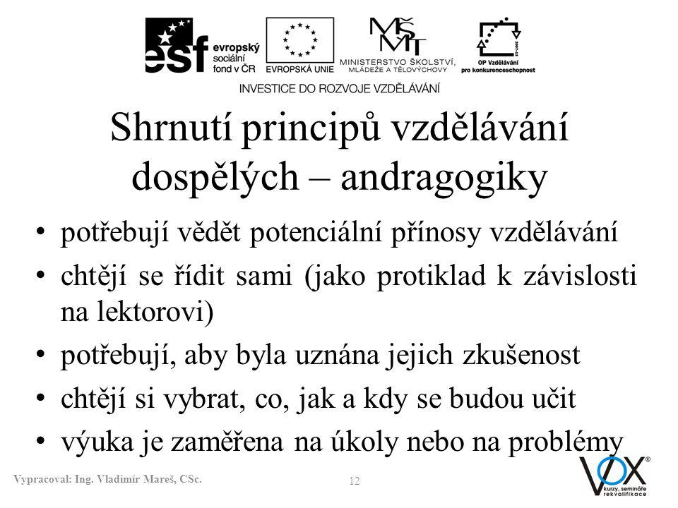 Shrnutí principů vzdělávání dospělých – andragogiky • potřebují vědět potenciální přínosy vzdělávání • chtějí se řídit sami (jako protiklad k závislos
