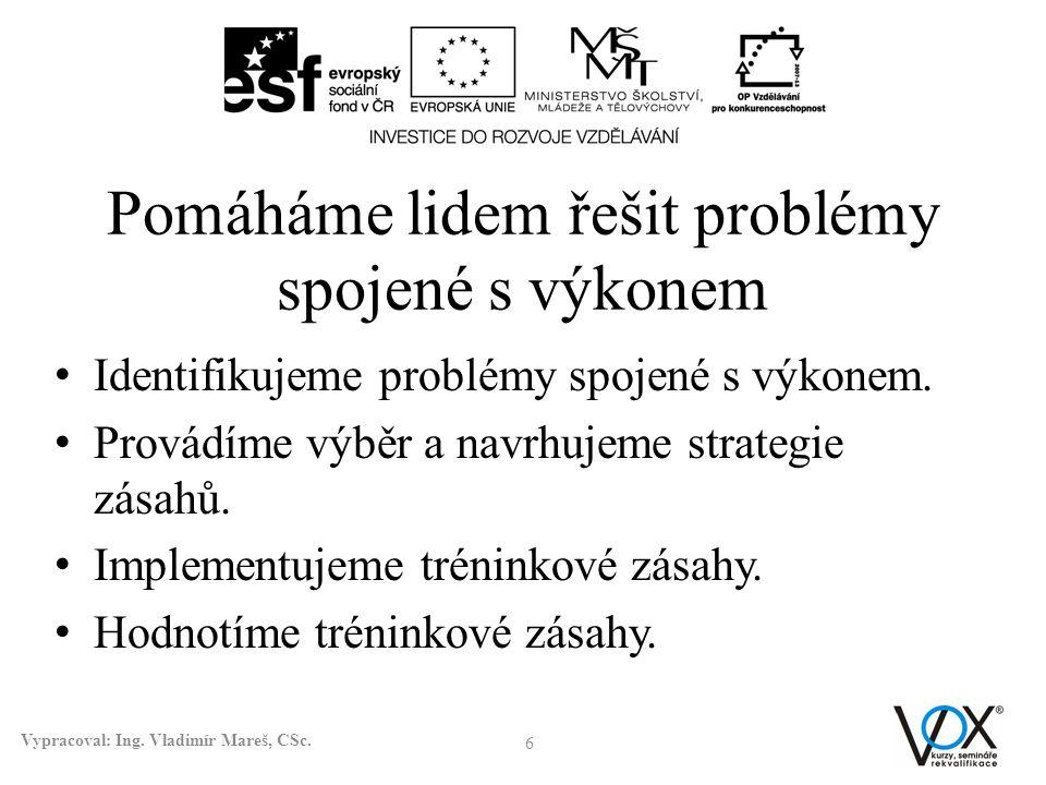 Pomáháme lidem řešit problémy spojené s výkonem • Identifikujeme problémy spojené s výkonem. • Provádíme výběr a navrhujeme strategie zásahů. • Implem
