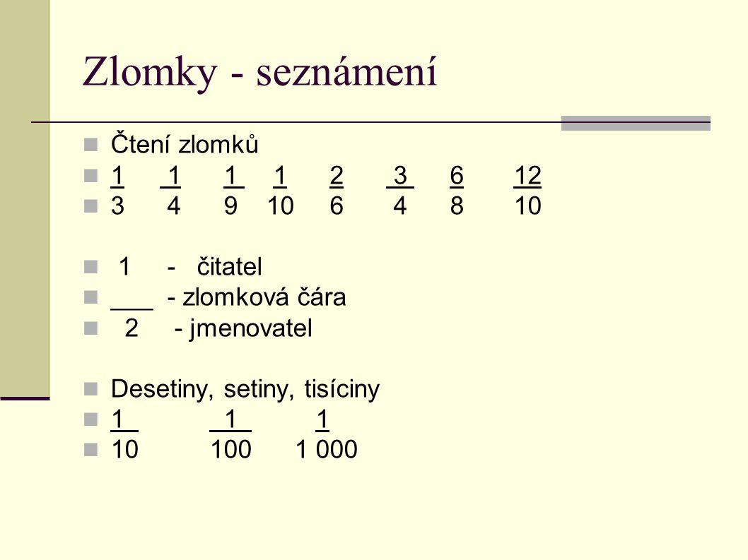 Zlomky - seznámení  Čtení zlomků  1 1 1 1 2 3 6 12  3 4 9 10 6 4 8 10  1 - čitatel  ___ - zlomková čára  2 - jmenovatel  Desetiny, setiny, tisí