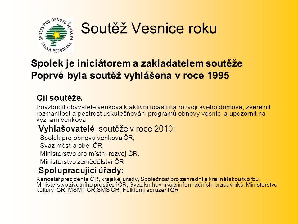 Soutěž Vesnice roku Spolek je iniciátorem a zakladatelem soutěže Poprvé byla soutěž vyhlášena v roce 1995 Cíl soutěže : Povzbudit obyvatele venkova k