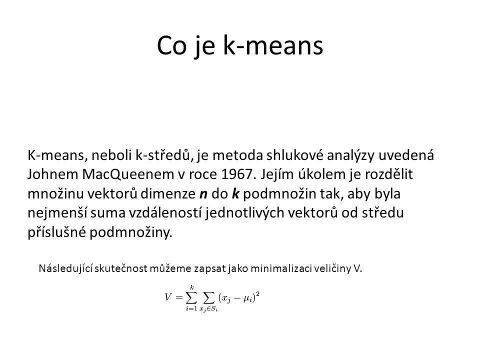 Co je k-means K-means, neboli k-středů, je metoda shlukové analýzy uvedená Johnem MacQueenem v roce 1967.