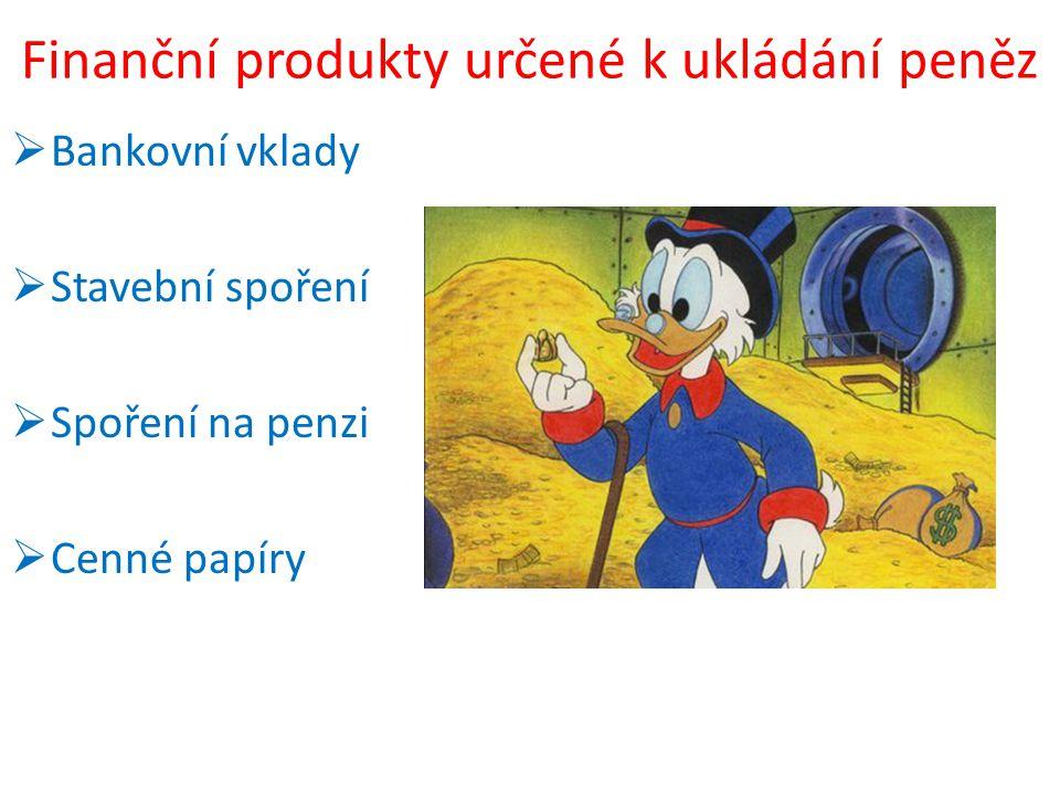 Finanční produkty určené k ukládání peněz  Bankovní vklady  Stavební spoření  Spoření na penzi  Cenné papíry