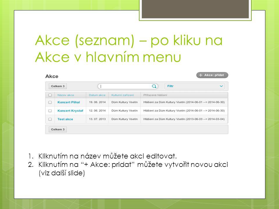 """Akce (seznam) – po kliku na Akce v hlavním menu 1.Kliknutím na název můžete akci editovat. 2.Kliknutím na """"+ Akce: pridat"""" můžete vytvořit novou akci"""