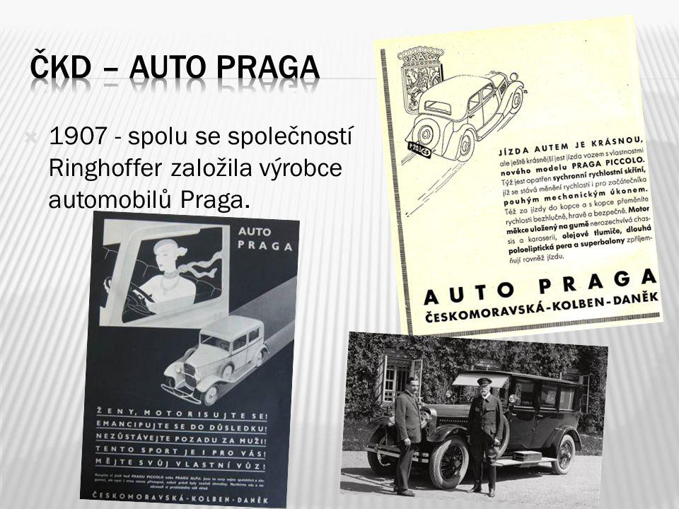  1907 - spolu se společností Ringhoffer založila výrobce automobilů Praga.