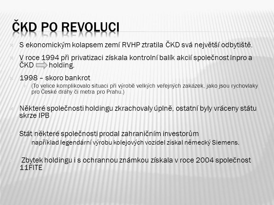  S ekonomickým kolapsem zemí RVHP ztratila ČKD svá největší odbytiště.  V roce 1994 při privatizaci získala kontrolní balík akcií společnost Inpro a
