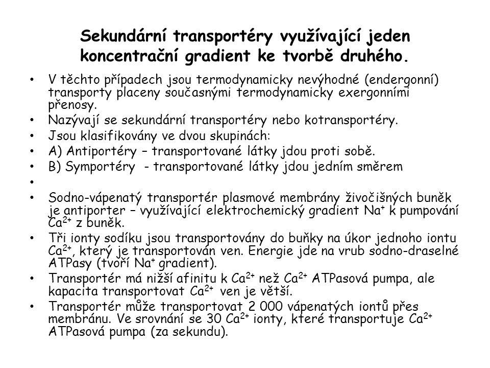 Sekundární transportéry využívající jeden koncentrační gradient ke tvorbě druhého. • V těchto případech jsou termodynamicky nevýhodné (endergonní) tra