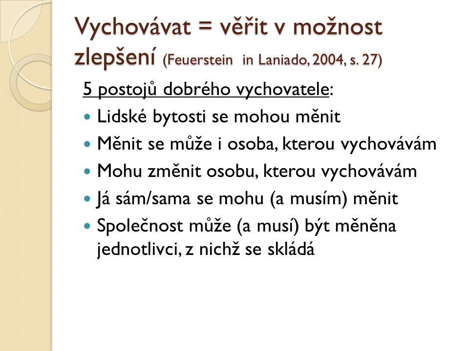 Vychovávat = věřit v možnost zlepšení (Feuerstein in Laniado, 2004, s.