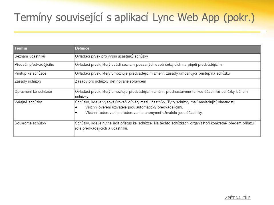 Termíny související s aplikací Lync Web App (pokr.) Z PĚT NA CÍLE Z PĚT NA CÍLE TermínDefinice Seznam účastníkůOvládací prvek pro výpis účastníků schůzky Předsálí předvádějícíhoOvládací prvek, který uvádí seznam pozvaných osob čekajících na přijetí předvádějícím.