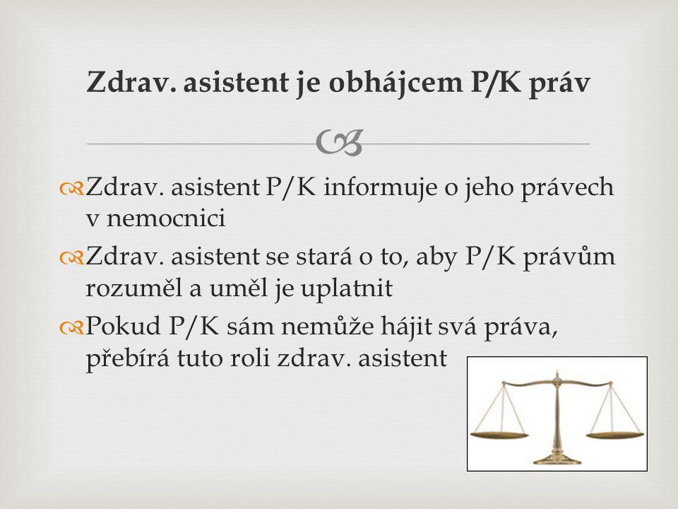   Zdrav. asistent P/K informuje o jeho právech v nemocnici  Zdrav. asistent se stará o to, aby P/K právům rozuměl a uměl je uplatnit  Pokud P/K sá
