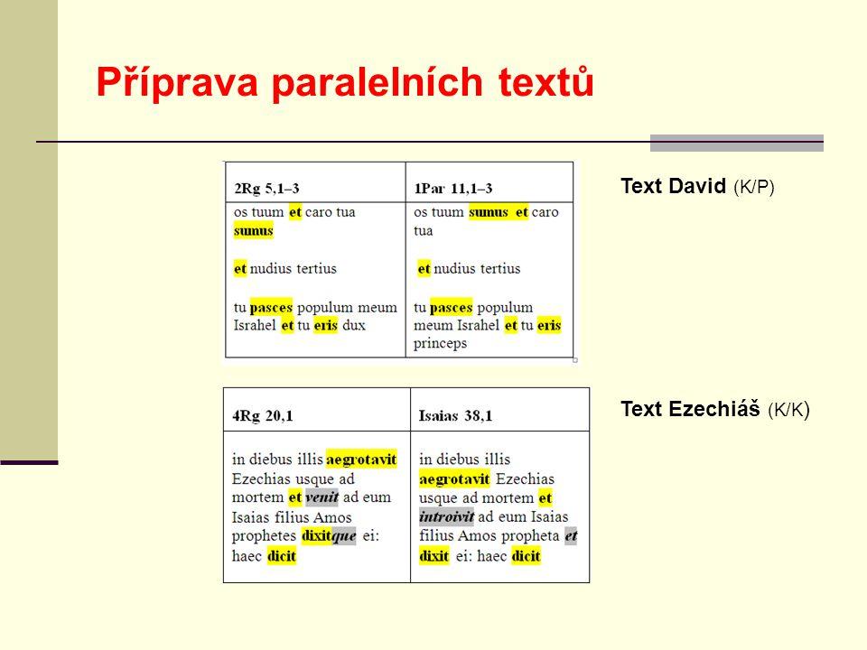 Příprava paralelních textů Text David (K/P) Text Ezechiáš (K/K )