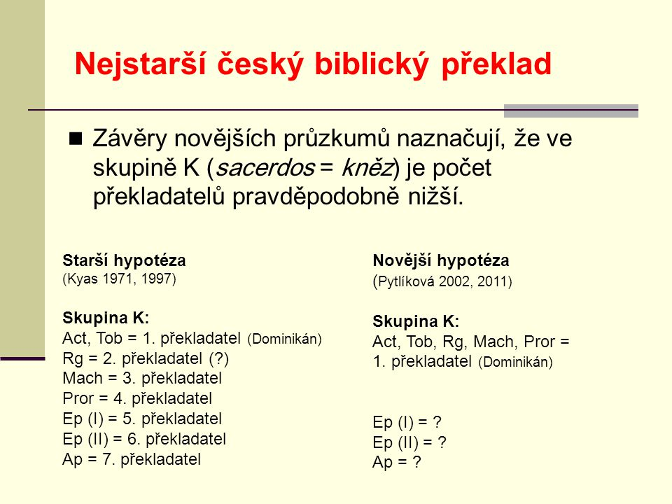 Nejstarší český biblický překlad  Závěry novějších průzkumů naznačují, že ve skupině K (sacerdos = kněz) je počet překladatelů pravděpodobně nižší.