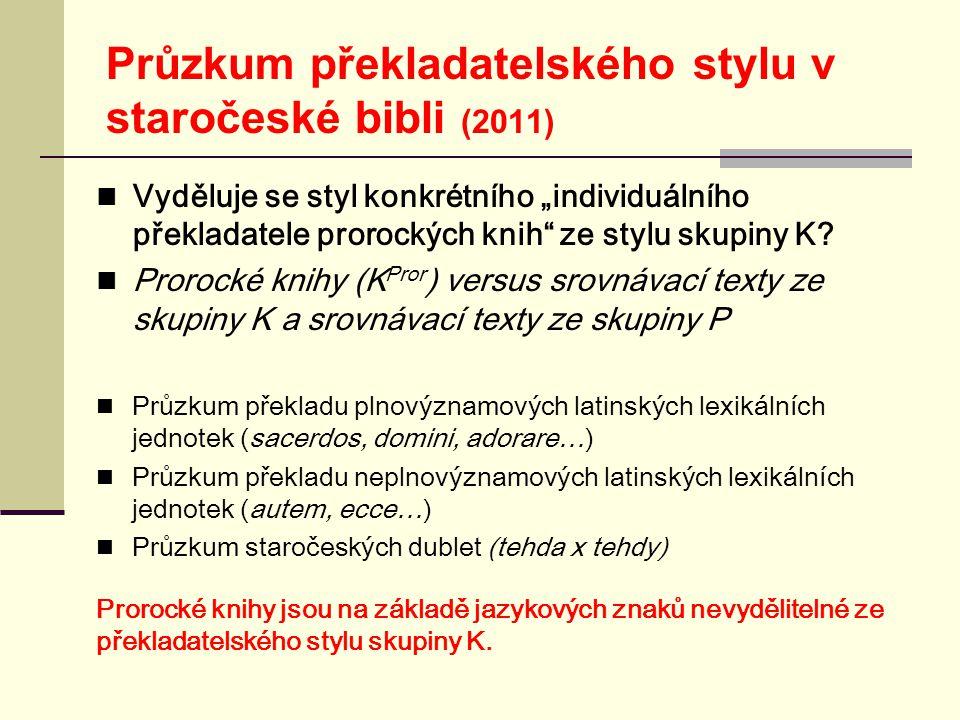 """Průzkum překladatelského stylu v staročeské bibli (2011)  Vyděluje se styl konkrétního """"individuálního překladatele prorockých knih ze stylu skupiny K."""