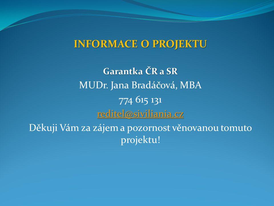 INFORMACE O PROJEKTU Garantka ČR a SR MUDr.