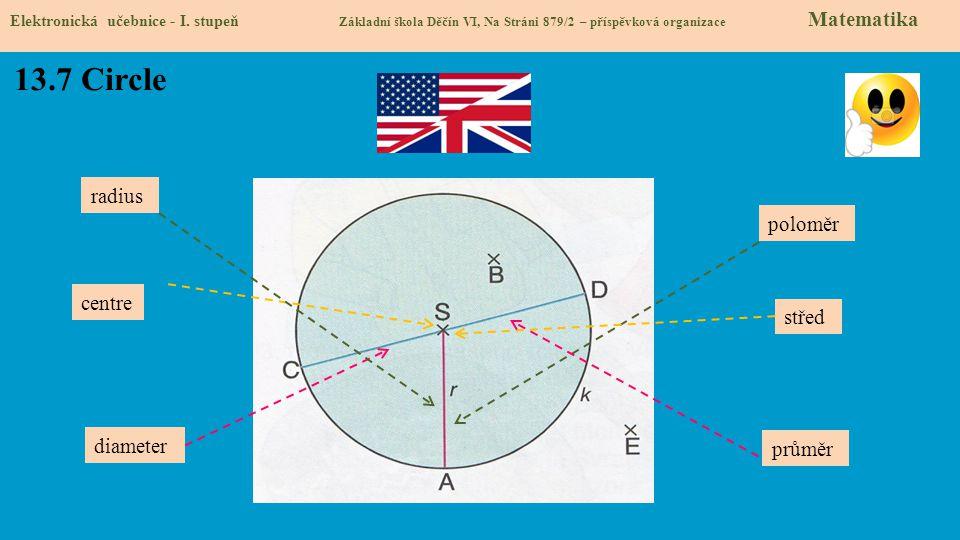 13.7 Circle Elektronická učebnice - I. stupeň Základní škola Děčín VI, Na Stráni 879/2 – příspěvková organizace Matematika radius centre diameter prům