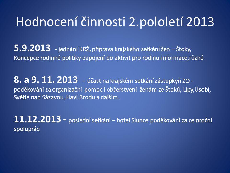 Hodnocení činnosti 2.pololetí 2013 5.9.2013 - jednání KRŽ, příprava krajského setkání žen – Štoky, Koncepce rodinné politiky-zapojení do aktivit pro r